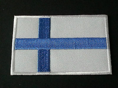 National World Country Embroidered Flag Sew/iron On Patch:- Finland