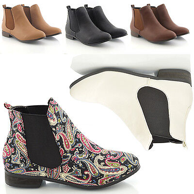 Womens Ankle Boots Low Heel Flat Chelsea Vintage Pixie Booties Ladies Size New