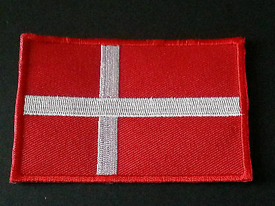 NATIONAL WORLD COUNTRY EMBROIDERED FLAG SEW/IRON ON PATCH:- DENMARK ( b )   )