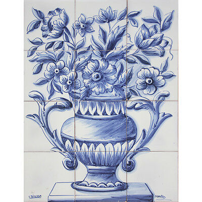 Portuguese Traditional Clay Azulejos Tiles Panel Mural BLUE DELFT FLOWERS VASE