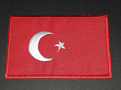National World Country Embroidered Flag Sew/iron On Patch:- Turkey