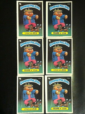Garbage Pail Kids Cards #112 A/B 3 Undead Jed and 3 Frank N. Stein
