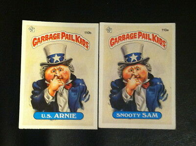 Garbage pail kids cards #110a/b set US Arnie and Snooty Sam