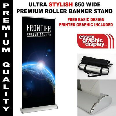 Frontier Premium Quaity Stylish Roller Banner Stand 850Mm Wide Inc Graphic
