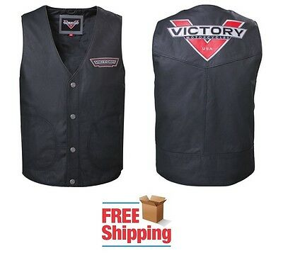 Victory Borderland Mens Motorcycle Leather Vest Snap Front Nylon Lining New
