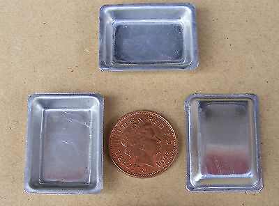 12th Metal Pie Dishes (3) Dolls House Miniature Food Baking Tray Accessory SD