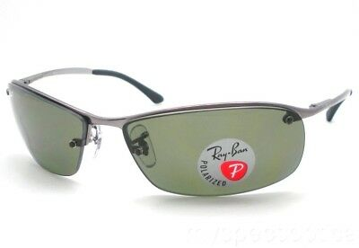 Ray Ban RB 3183 004/9A Gunmetal Polarized Green Sunglass New Authentic