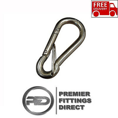 316 Stainless Steel Carabiner Spring Snap Hooks Safety Latch Climbing Hiking