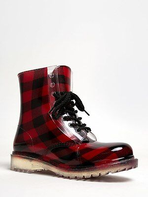 NEW DIRTY LAUNDRY ROADIE Women Clear Rubber Lace Up Ankle Rainboots sz Red Plaid