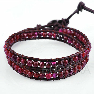 Natural  Agate Wholesale Beaded Genuine leather 2 wrap bracelet QCL328