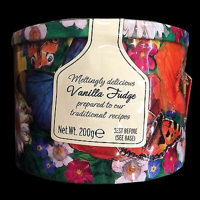 Gardiners Traditional Vanilla Fudge Butterfly Round Tin 200g Christmas