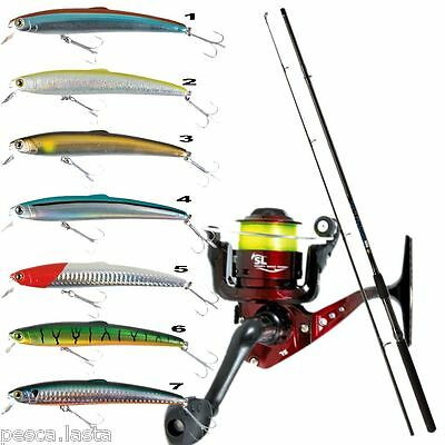 combo spinning special mulinello con filo + canna + minnow PL596