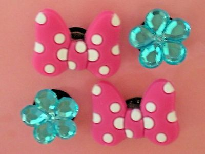 Jibbitz Croc Clog Shoe Charms 4 Cystal Flowers Bow Fit Bracelet Belt Accessories
