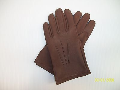 Men's Brown Soft Deerskin Leather Unlined Driving Gloves -   Made In The Usa