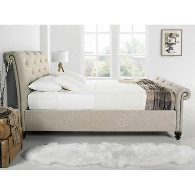 Kaydian Belford 5FT King Size Oatmeal Fabric Upholstered Bed + FREE MATTRESS