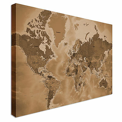 Detailed World Map, Vintage Sepia, Countries Wall Art Canvas Print Cheap