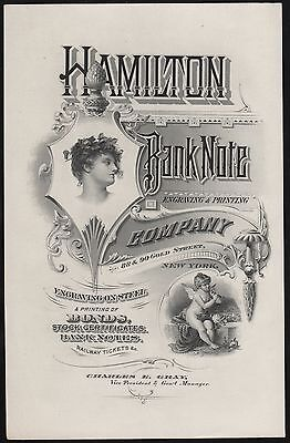 HAMILTON BANK NOTE Co ENGRAVING & PRINTING 88-90 GOLD ST. ADV'T CARD HV8149
