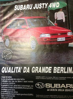 Advertising Pubblicita'  Subaru Justy 4Wd  --1991