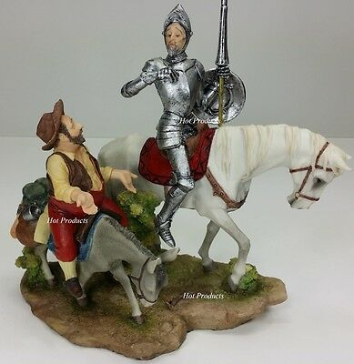 DON QUIXOTE SANCHO PANZA Sculpture Figure Spanish Statue HAND PAINTED