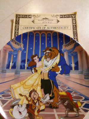 """Disney Beauty Beast Collector Plate """"Loves First Dance"""" With COA"""