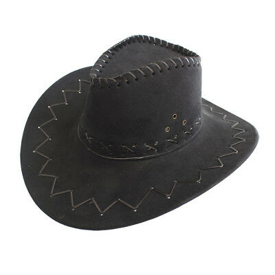 Kids Western Cowboy Cowgirl Brown Hat Stitched Leather Child Sunhat Dance Party