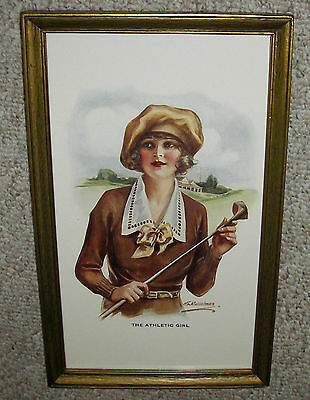 1/2 YARD LONG ~ OLD PRINT ~ 1920'S LOVELY LADY GOLFER ~ BEAUTIFUL ART DECO FRAME