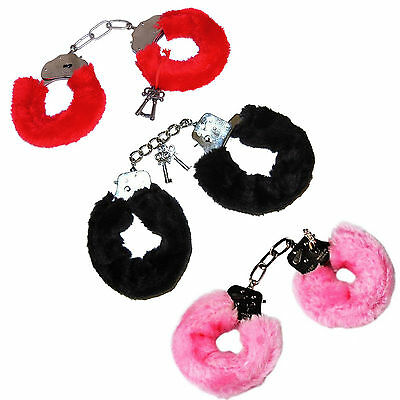 Furry Fluffy Handcuffs Red Black Pink Fancy Dress Hen Night Stag Do Play Toy