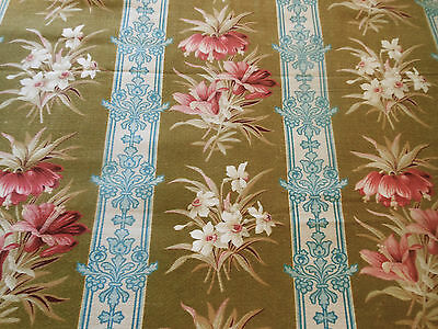 Antique French Botanical Floral Fabric ~Brown Rose Blue ~Upholstery Totes Patina