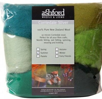 """FIBRE PACK  """"SUMMER"""" 7 colour pack of our popular 30 micron Corriedale Greens"""