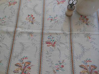 Antique French Floral Roses Cottton Fabric ~Pink Blue Sage Aqua Dove Gray Brown