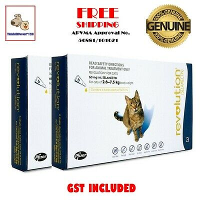 Revolution For Cats 2.6-7.5 kg 6 Pack Heartworm Hookworm Flea-Ear Mite Treatment