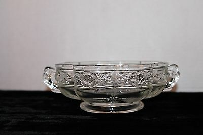 Vintage Clear Glass Candy Nut Dish With Double Handle & Scalloped Flower Design