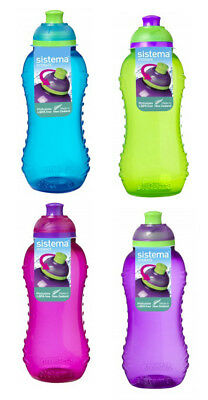 4 Sistema 460ml Twister Drinks Bottles 1 each Pink Blue Purple Green BPA Free