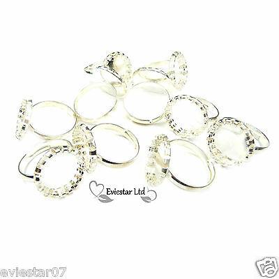 5 Silver Plated Pad Ring Blanks Findings (12)