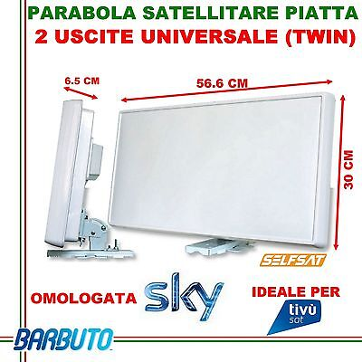 ANTENNA SATELLITARE PIATTA 2 USCITE twin SELFSAT H21D2-IT 34,5dB  OMOLOGATA SKY