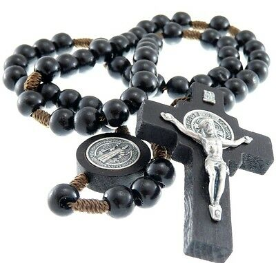 Black Wooden St Benedict Rosary Beads with Medallion Junction - UK seller