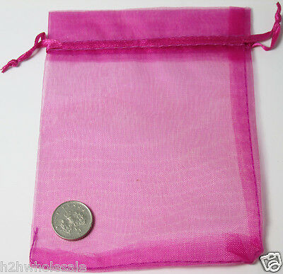 12 x 10 Fushcia Pink Organza Voile Bags - Wedding Favours - Jewellery Gift Bag