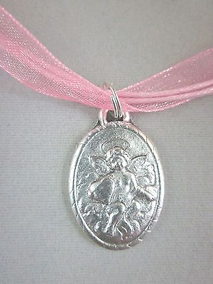 """Cherub with Heart Medal Pendant Necklace Italy 18"""" Medium Pink Ribbon Voile Cord"""