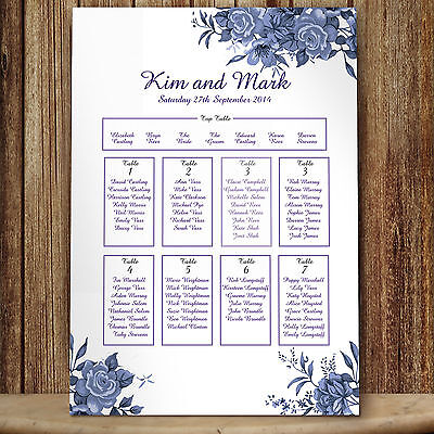 Personalised Blue Roses Wedding Seating Table Plan ~Canvas~Board~Paper~