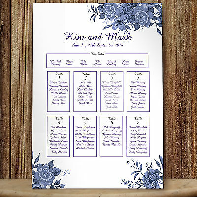 Personalised Blue Roses Wedding Table Seating Plan Planner