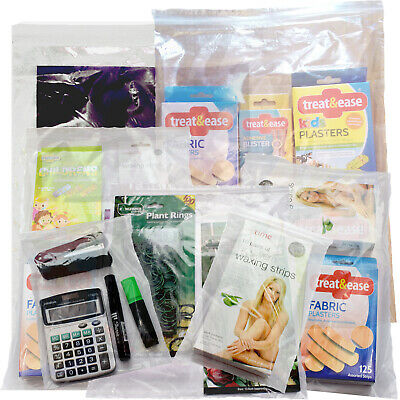Heavy duty grip seal zip lock self seal clear bags. Assorted sizes & Quantities