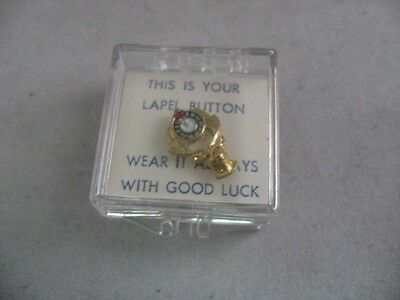 "Vintage BPOE Elks Lodge Men's Tie Tack Lapel Pin ~ In box!!! ~ ""Good Luck"" ~"