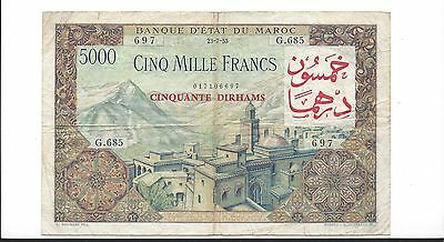 Morocco 23-7-1953  50 Dirhams Pick 51  ph VF Scarce revalued note x Ruth Hill