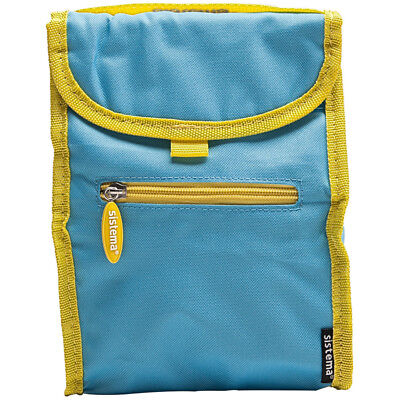 Sistema Blue Fold Up Insulated Cooler Lunch Bag Kids School Snack Picnic Food