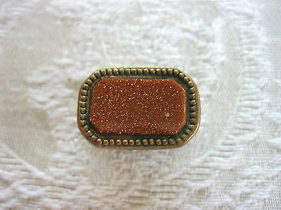 VICTORIAN ART DECO SWEET GOLDSTONE GOLD STONE DRESS OR TIE JAW CLIP CLASP CLAMP
