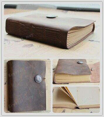 2015 NEW Blank Genuine Leather Soft Cover Bound Note books Diary Journals Brown