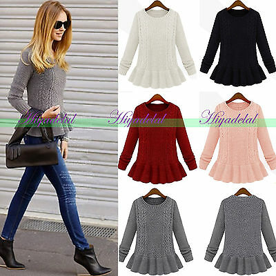 2014 New Women's Vintage Casual Peplum Cable- Knit Sweater Coat Knitwear Sweater