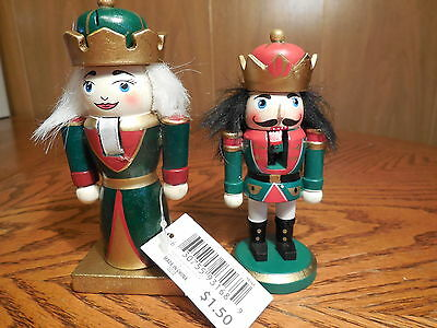 Two 4-4.5 inches Christmas Nutcracker Decorations- New