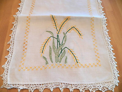 """Vintage Linen Runner-UNUSED Condition-12"""" x 38""""Embroidered &CrossStitched Floral"""