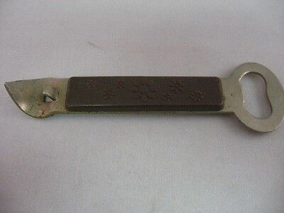 "Vintage Collectible Hong Kong Brown Flower Etch Bottle Opener ~ 5.5"" Long ~"
